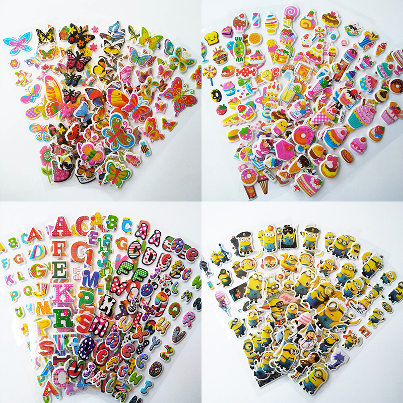 6 Sheets 3D Stickers Boy Girl  Cartoon Cake Letters PVC  DIY Stickers Children Gifts Cute Stickers For Kids