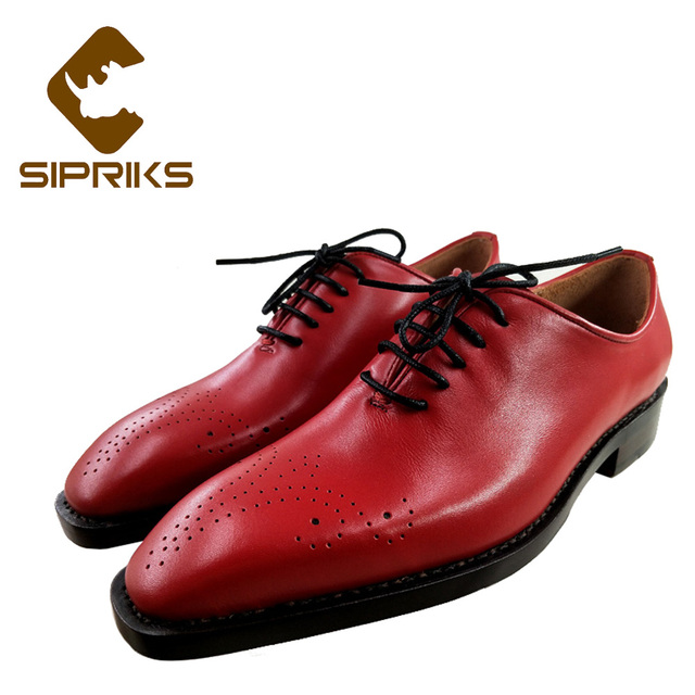 Sipriks Mens Red Leather Formal Shoes Italian Bespoke Goodyear Welted Shoes  Square Toe Brogues Oxfords Party Wedding Shoes Male aef7f2040e2a