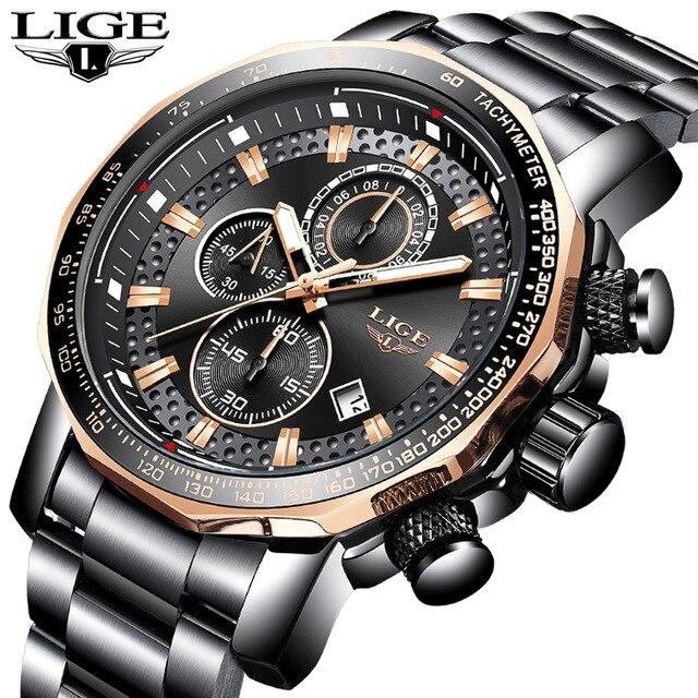 LIGE hommes montre Top marque de luxe en acier Quartz montre-bracelet hommes mode chronographe Sport étanche montre Relogio Masculino