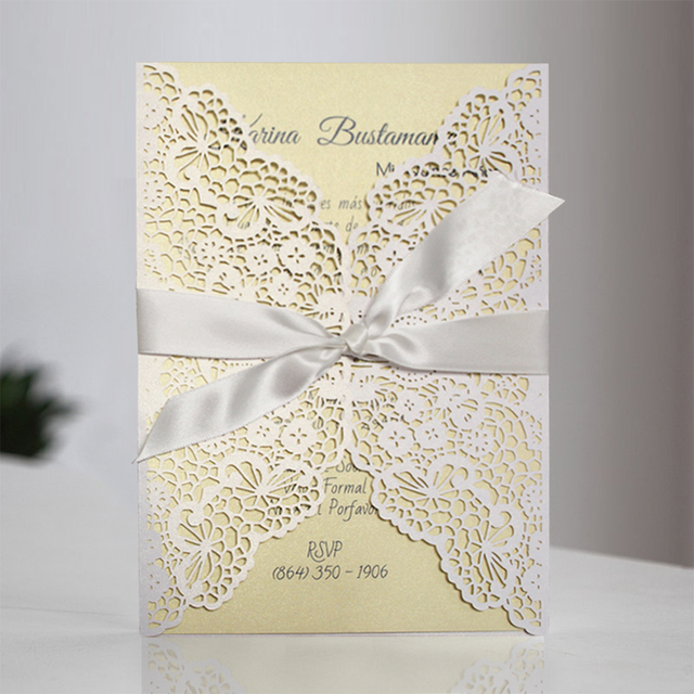 Fl Lace Invitations Handmade Wedding Invitation Cards Set Of 50
