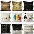 Music Series Note Printed Linen Cotton Square 45x45cm Home Decor Houseware Throw Pillow Cushion Cojines Almohadas HH069
