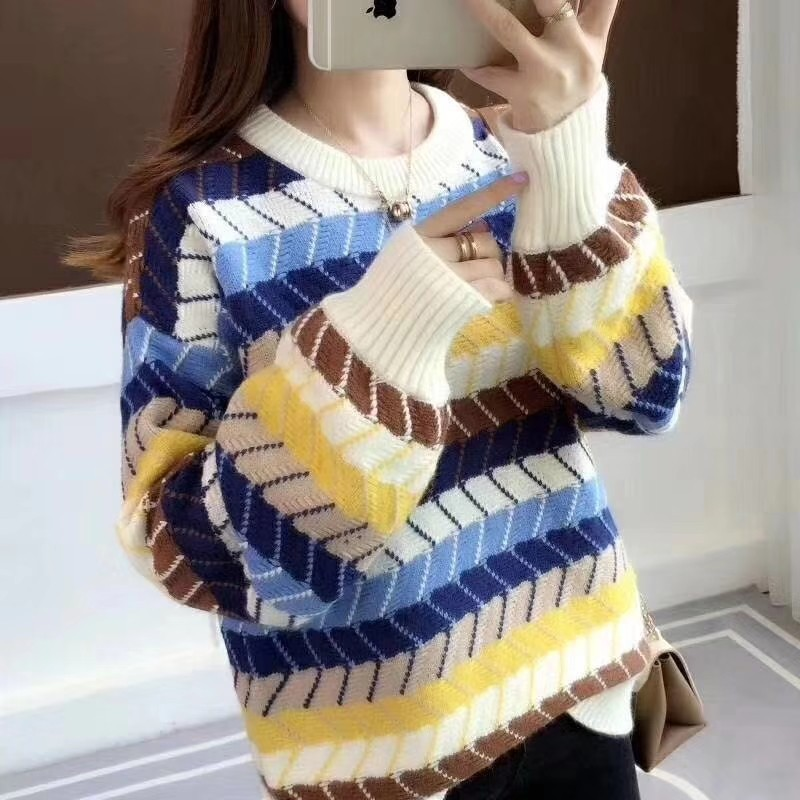 Assorted Colors Loose Knit Sweater for Students Girls