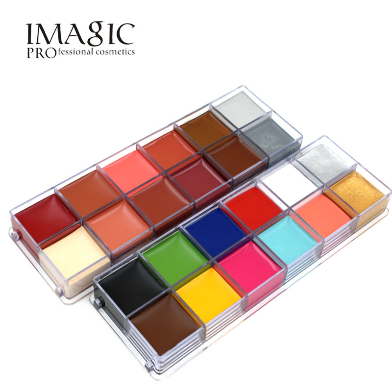 IMAGIC 12 Colors Flash Tattoo Face Body Paint Oil Painting Art use in Halloween Party Fancy Dress Beauty Makeup Tool imagic cosmetics body painting flash tattoo palette halloween painting skin wax professional makeup remover painting tools