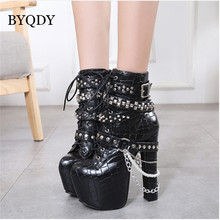 цена на BYQDY Gothic Rivet Fur Boots Autumn Fashion High Heels Ankle Boots Woman Studded Heels Winter Boots Platform Shoes Thick Heels