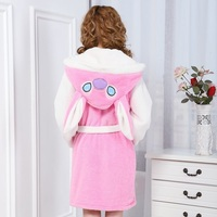 Women Cute Animal Stitch Long Sleeve Hooded Bathrobe Szlafrok Robe Bath Femme Sexy Loose Sleepwear Robe