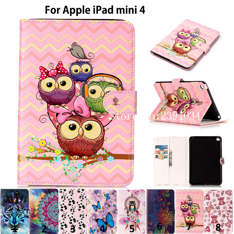 все цены на Fashion Animal Pattern Cover For iPad Mini 4 Case For Apple iPad Mini4 Smart Cover Funda tablet Silicon PU Leather Stand Shell онлайн