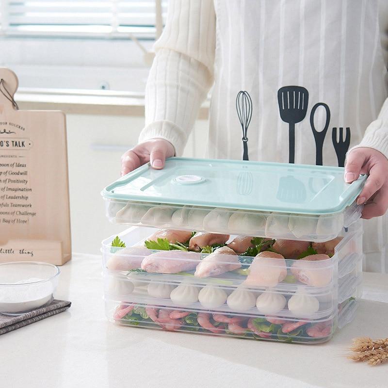 다층 냉장고 스토리지 컨테이너 플라스틱 상자 음식 만두 기밀 홈 주최자 곡물 콩 상자 주방 주최자