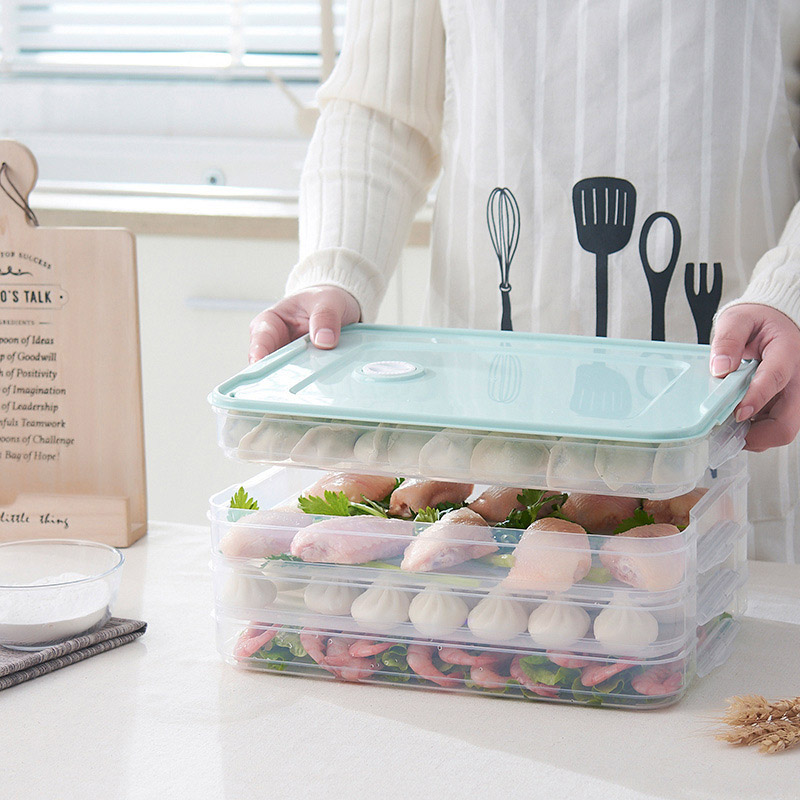 Multi-Layer Refrigerator Storage Container Plastic Box Food Dumplings Airtight Home Organizer Grains Beans Box Kitchen Organizer