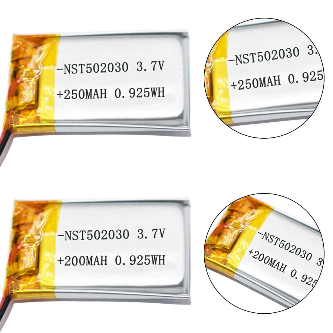 3.7V 200mAh 250mAh 502030 Lithium Polymer Li-Po Li Ion Rechargeable Battery Lipo Cells For MP3 MP4 Toys Speaker Tachograph POS