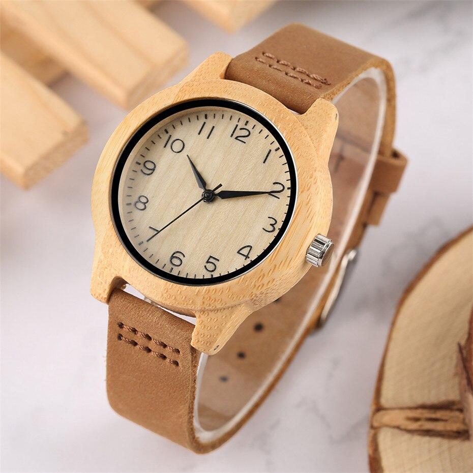 Minimalist Arabic Numerals Bamboo Women Watches 08