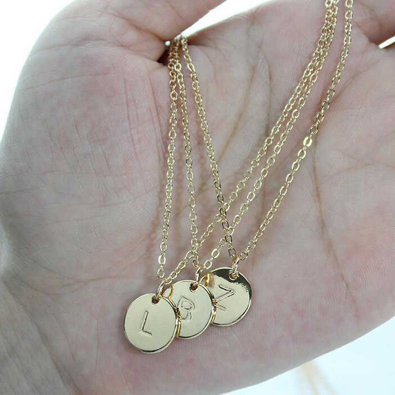 NEW 26 Letters Initial Necklace Silver Gold Color Disc Necklace Alphabet Women Kolye Collier Friends Family Letter necklace