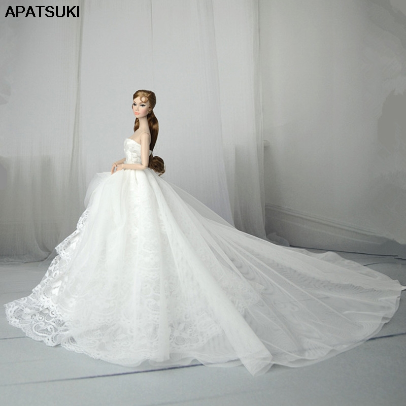 White Lace Handmade Wedding Dress For Barbie Doll Outfits Princess Evening Party Ball Long Gown Skirt Bridal Dress Accessories