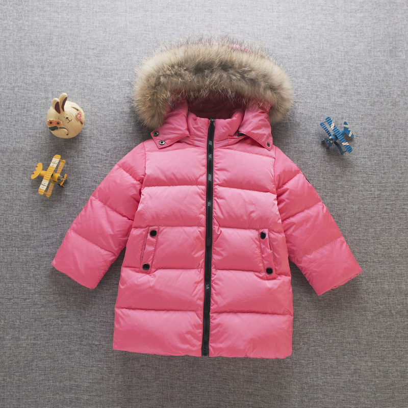 2017 New Fur collar Children 90% White Duck Down Jackets High Quality Boy Girls Cotton Coats Casual Long kids winter ski Outwear casual 2016 winter jacket for boys warm jackets coats outerwears thick hooded down cotton jackets for children boy winter parkas