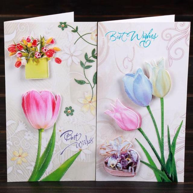 8pcs Lot 3D Flower Print Handmade Teachers Day Birthday Greeting Card With Envelope