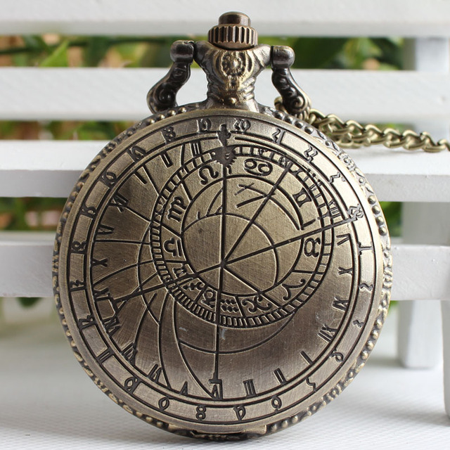Bronze Color Doctor Who Theme Antique Pocket Watch With Dr. Who Symbols Design G