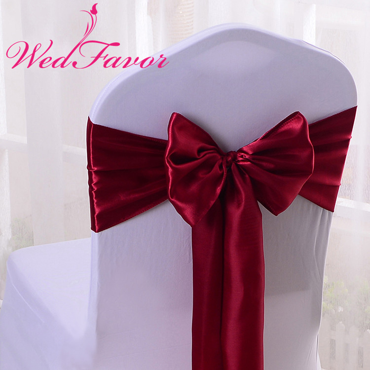 WedFavor 100pcs Chair Cover Satin Ribbon Ties Banquet Satin Chair Bow Sash For Wedding Event Hotel