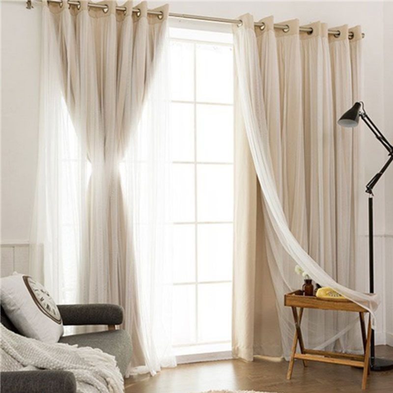 Korean Polyester Solid Cloth Blackout Curtains Tulle