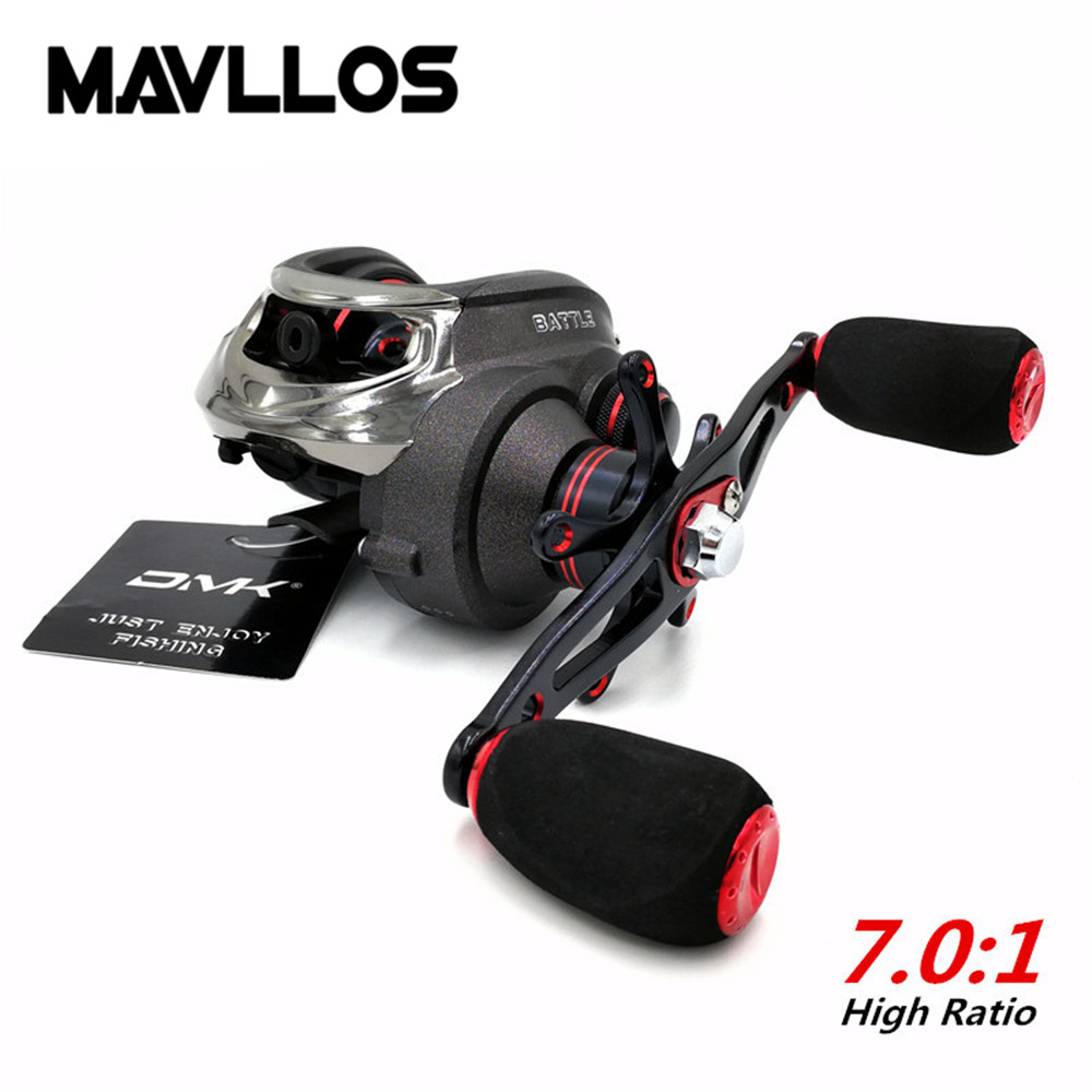 Mavllos 16BB Ratio 7.0:1 Baitcasting Reel Left Right Hand Saltwater Bait Casting Reels Double Brake System Surf Fishing Reel