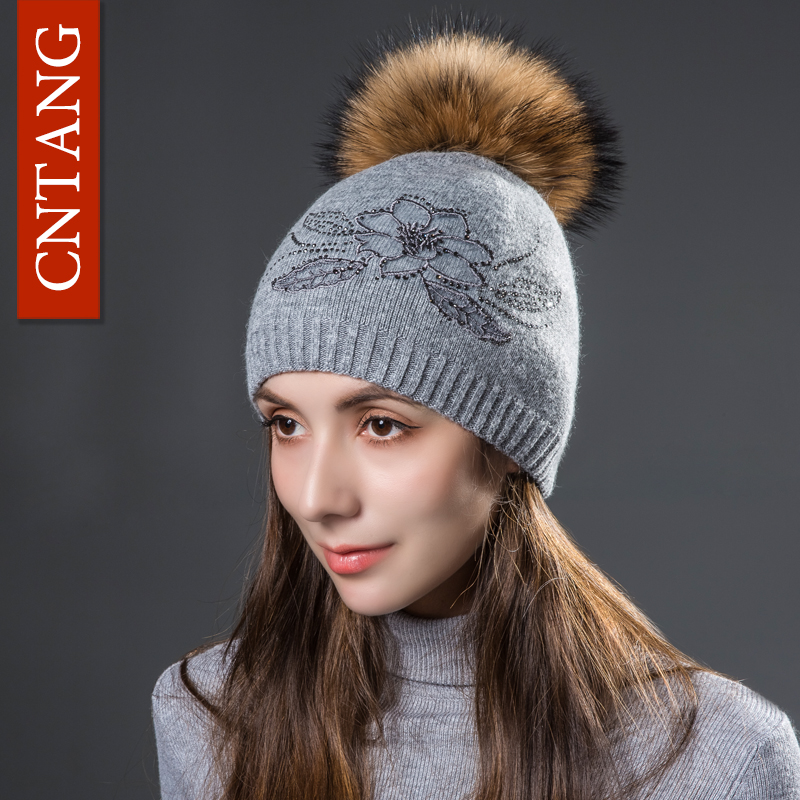 CNTANG Wool Hats Beanies For Women Winter Warm Embroidery Flowers Knitted Double Layer Caps With Natural Fur Pom Pom Female Hat a three dimensional embroidery of flowers trees and fruits chinese embroidery handmade art design book