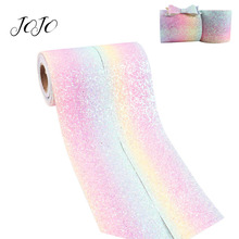 JOJO BOWS 75mm 2y Sparkly Chunky Glitter Ribbon For Crafts Rainbow Tape Needlework DIY Hair Bows Apparel Sewing Party Decor