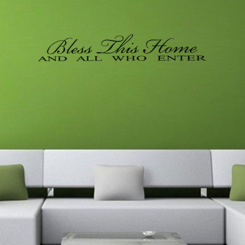 Free shippingDIY wall decals Bless This Home And All Who Enter Wall Decal Crafts Decoration Wall Sticker Home Sticker Manufactur