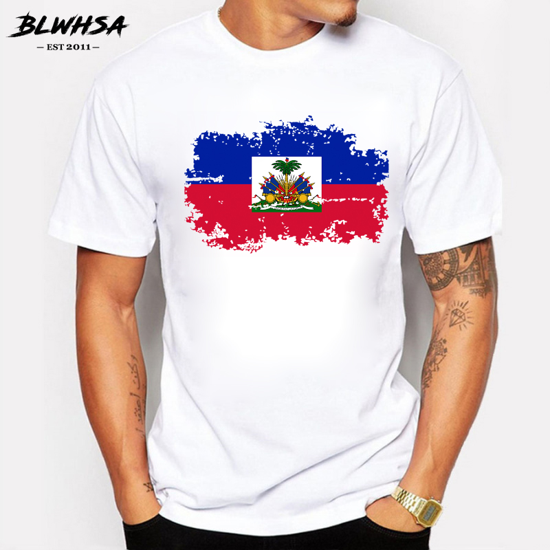 BLWHSA New Haiti Flag T shirt Men Fashion Short Sleeve Cotton Design Nostalgia T-shirts Summer Haiti men Clothing