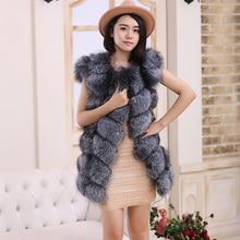 Whole skin silver fox fur Real silver fox vest