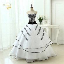 Vestidos de noiva Hot Sale Free Shipping 2015 New Arrival Classical A line Red Black / White Black Women Wedding Dresses OW 0199