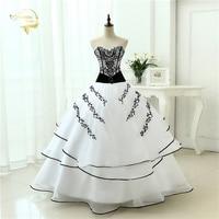 Vestidos De Noiva Hot Sale 2018 New Arrival Wedding Dresses Classical A line White Black Women's Vintage Ball Gown OW 0199