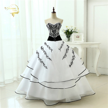 Vestidos de noiva Hot Sale Free Shipping 2015 New Arrival Classical A line Red Black / White Women Wedding Dresses OW 0199