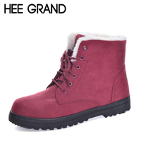 HEE GRAND New Arrival British Style Women Snow Boots Fashion Winter Warm Shoes Lace Up Women