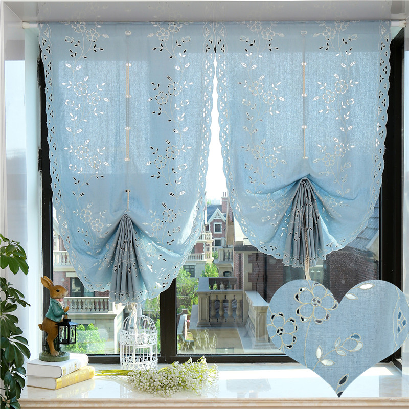 Chic Blue Beige Cotton Linen Plaid Curtains For Boys Bedroom: Retro Style Handmade Hollow Cotton Linen Sector Roman
