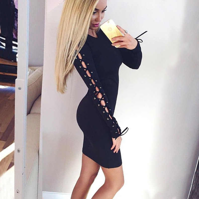 Bella Philosophy 2019 women autumn winter long sleeve side lace-up Bandage knitted Dress Vestidos Stretchy Sexy Slim dress