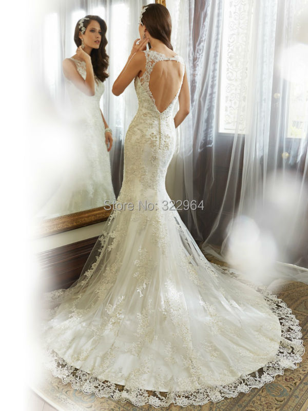 2015 Hochzeitskleid Boho Wedding Dresses Mermaid Lace Key hole Back ...