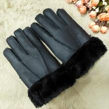 Fur Winter Gloves  For Men Warm Man Gloves Sheepskin Leather Gloves Really sheep wool Lining