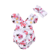 Baby Clothing Newborn Baby Girl Ruffles Floral Romper Back Cross Jumpsuit Outfits Set Clothes(China)