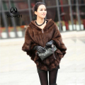 Knitted Genuine Mink Fur Shawl Wrap Cape women mink fur coat winter fur jacket free shipping F138