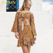 03b48638ae JLZXSY 2018 Spring Summer Floral Print Beach Holiday Short T-shirt Women  Two Piece Beachwear