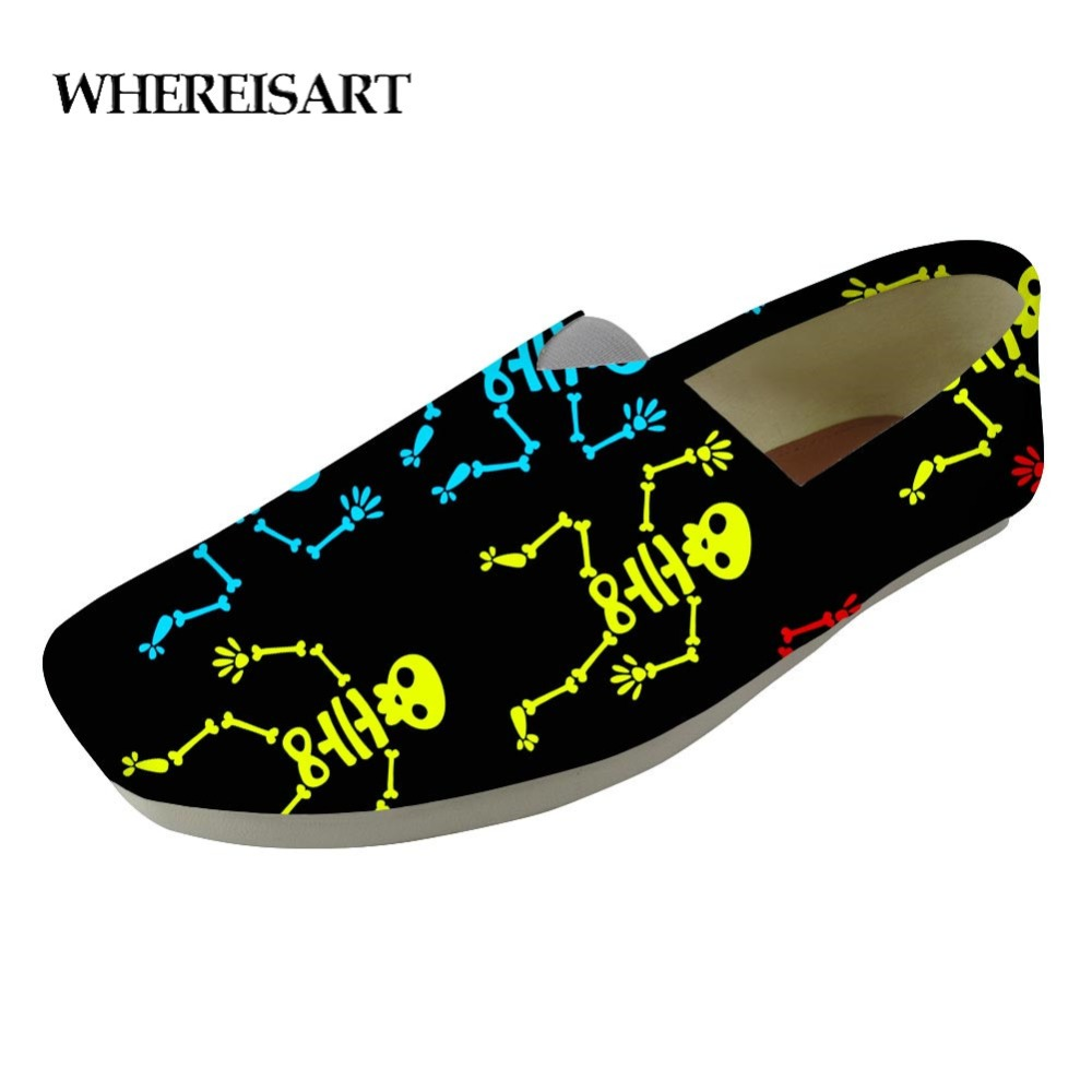 WHEREISART High Quality Men Dancing Skeleton Print Flat Casual Shoes Men Loafers Shoes Men Lazy Shoes Students Slacker Shoes