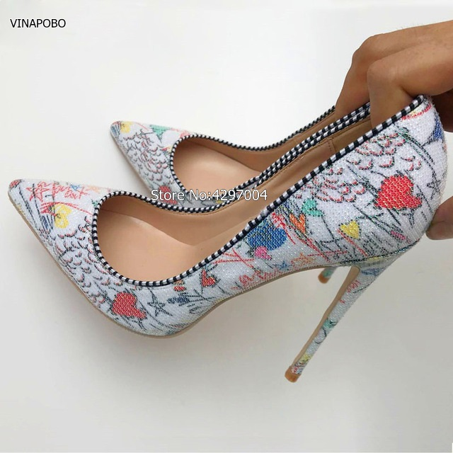 905300930488a3 White Graffiti Multicolor Women Pumps Pointed toe Sexy Women High Heels  Spring Wedding Party Women Shoes Stilettos 12cm 10cm 8cm