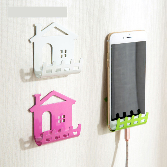 Cellphone Phone Shelf Wall Holder Sticker Stand Adhesive Charging Storage Mobile Charger Organizer