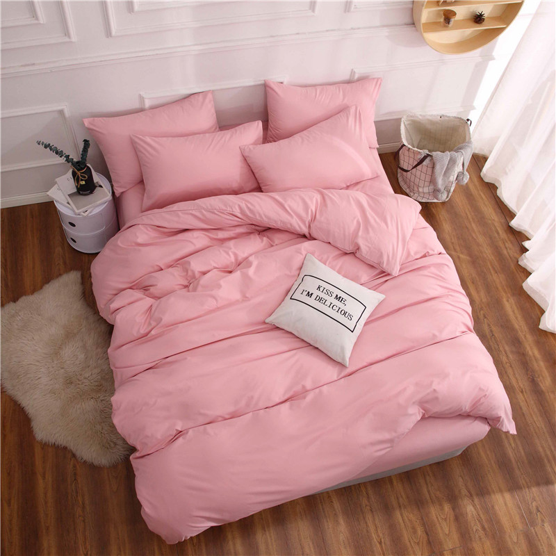 Cute Girl Style Pink Solid Color Bedding Set Queen Size Duvet Cover Bed Cover 3/4 Pcs Bed Sheets Pillowcase Bedspread King Size Cute Girl Style Pink Solid Color Bedding Set Queen Size Duvet Cover Bed Cover 3/4 Pcs Bed Sheets Pillowcase Bedspread King Size