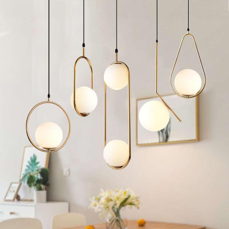 北欧ガラス玉のペンダントライトフープゴールド現代の Led 用のランプハンギングリビングルームホームロフト工業用照明器具