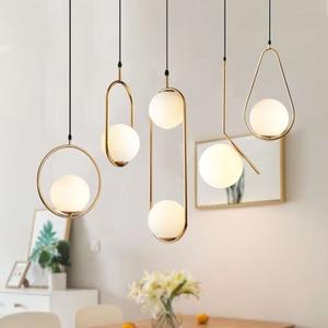 Nordic Glass Ball Pendant Lights Vintage Hoop Gold Modern LED Hanging Lamp for Living Room Home Loft Industrial Decor Luminaire(China)