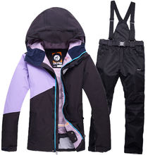 Colorful Coat Woman Ski Suit Sets Ladies Skiing snowboard Clothing waterproof windproof Snow mountain Ski jacket + Bib Pant