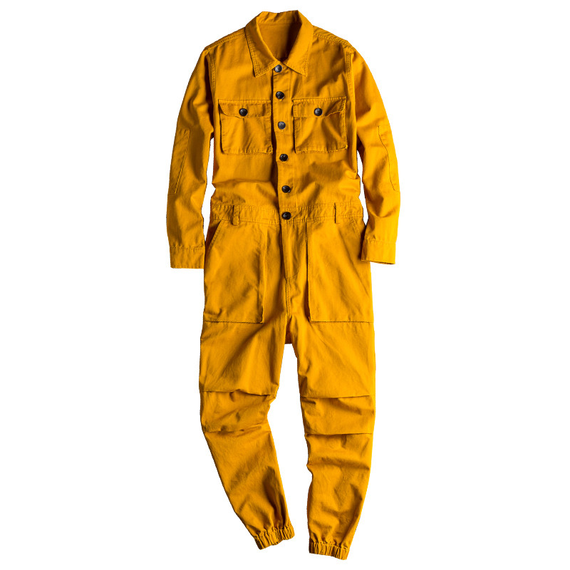 MORUANCLE Fashion Men's   Jean   Bib Overalls Hip Hop Jumpsuits With Multi Pockets Workwear Coveralls Suspender Pants For Male