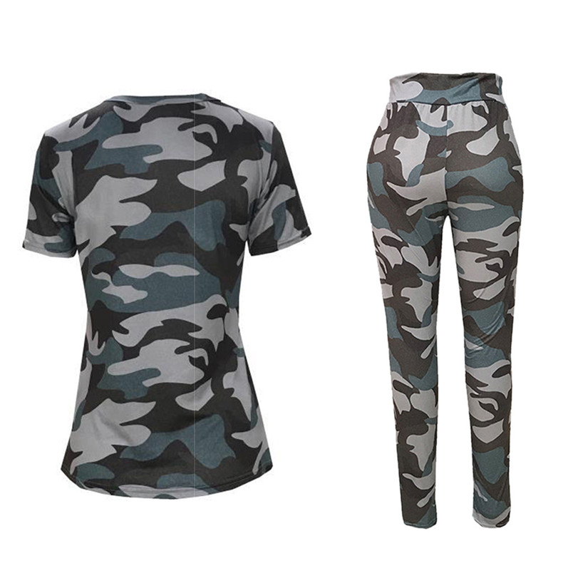 WOMENS LADIES CAMOUFLAGE ARMY LOUNGE WEAR TRACKSUIT BOTTOM OVERSIZED TOP SET
