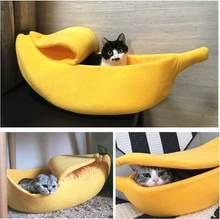 Cama para animais em forma de banana, cesta acolchoada portátil para gatos e cães/m/l/xl