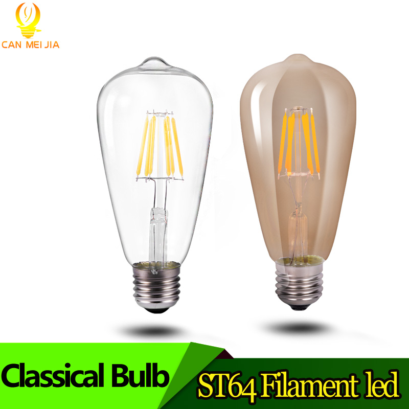 Antique LED Bulb E27 Led Filament Bulb st64 2W 4W 6W 8W Retro Edison Clear Glass Light Bulb for Decorate Home Warm White AC220V e14 2w 180lm 3000k warm white light 2 led filament bulb transparent ac 220v