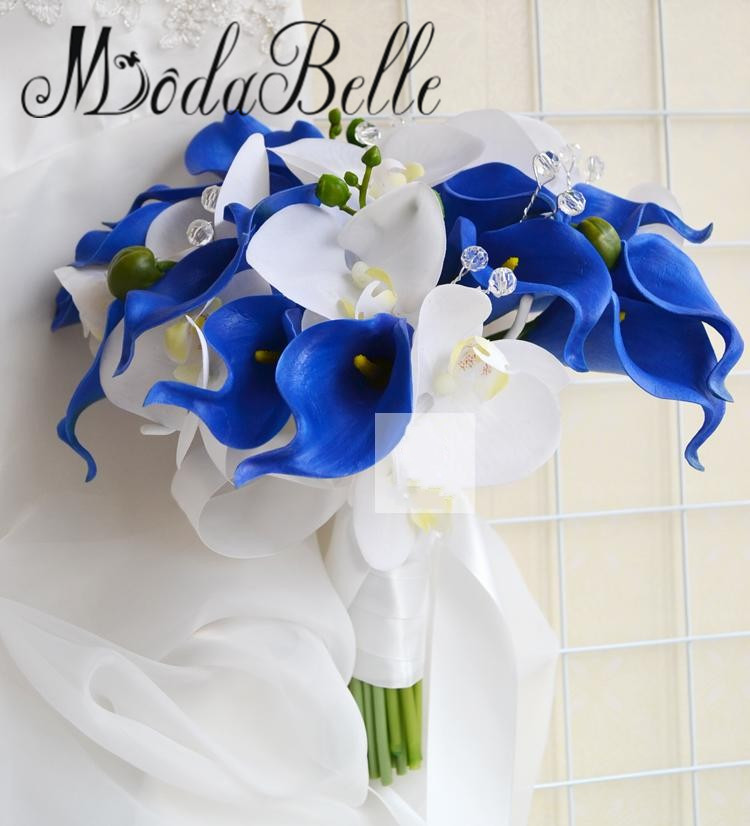 Bouquet Sposa Orchidee Blu.Modabelle Bianco E Blu Bouquet Da Sposa Orchidee Calla Lilies